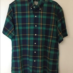 Green Summer Plaid Shirt Tailored by J. Crew Large